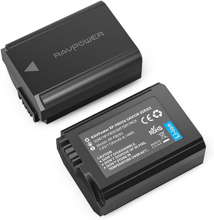RAVPower Batería de repuesto para cámara Sony (2 unidades, 1100 mAh, 8,14 W, totalmente compatibles con la batería original NP-FW50, con opción de carga versátil): Amazon.es: Electrónica