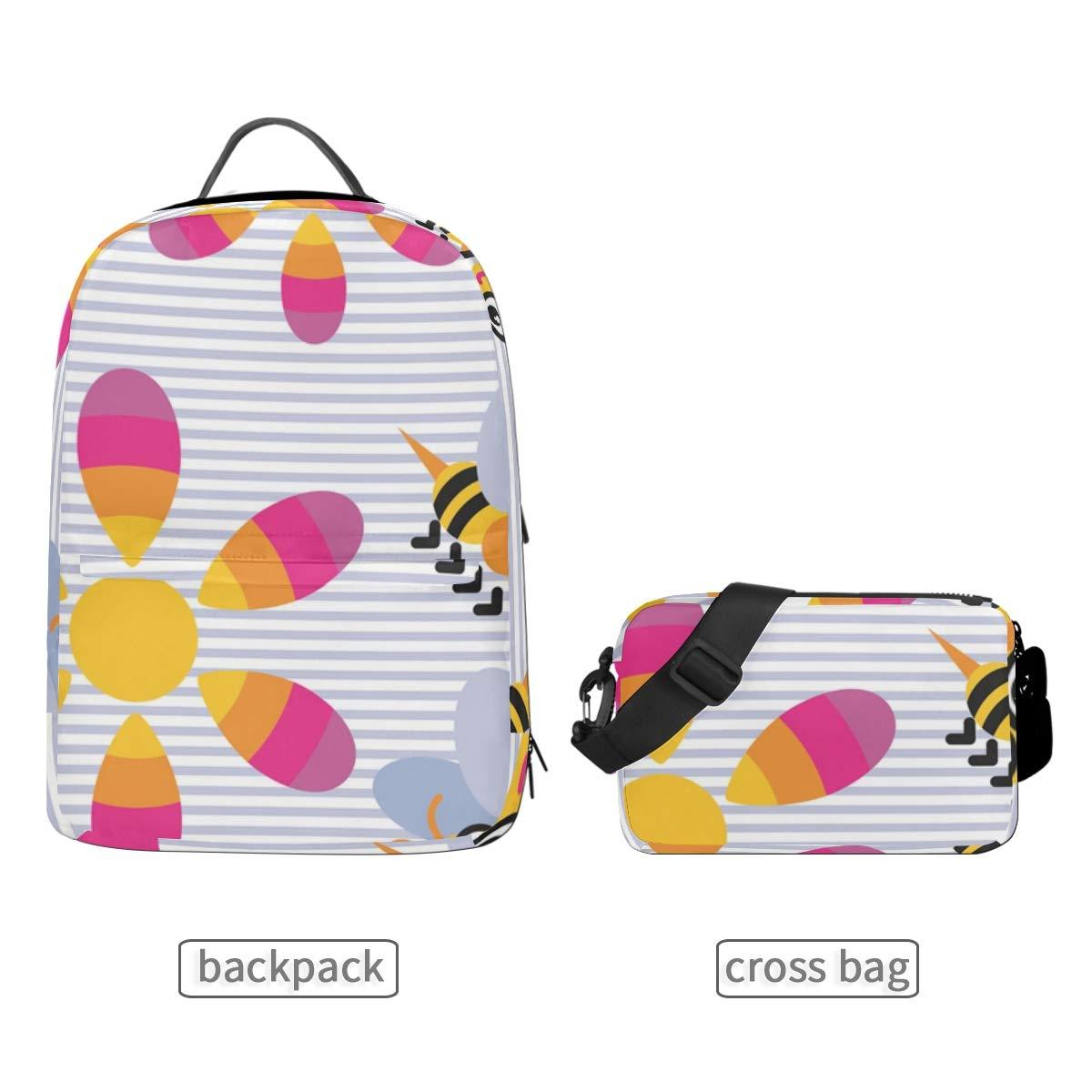 Bee Yellow Flower Shoulder Backpack Messenger Crossbody Laptop Bag Student Bookbags for Kid Girls Boys
