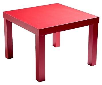 Soliving MINI Table Basse Carrée, Rouge, 55 X 55 X 40 Cm
