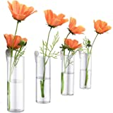 Ivolador 4PCS Wall Hanging Glass Plant Terrarium Container Cylinder Shape Perfect for Propagating Hydroponic Plants Home Offi