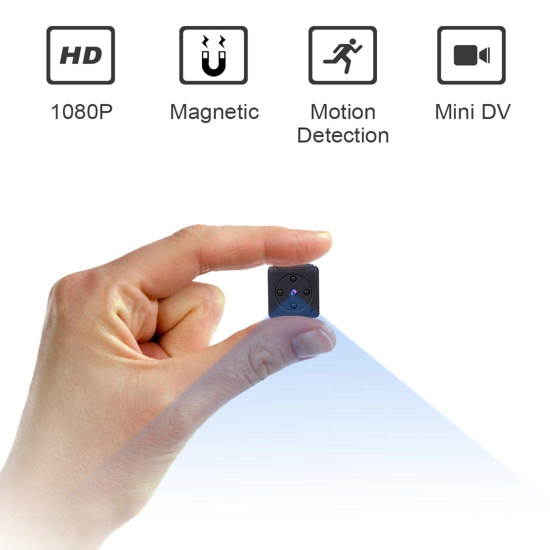ZZCP ミニスパイカメラ、1080Pの携帯用の小型の HD の秘密乳母カムと夜間視力と運動の検出、屋内/屋外ワイヤレスセキュリティカメラ、家庭やオフィス向けの完全隠しのカメラ (黒い) B079KJMP7K