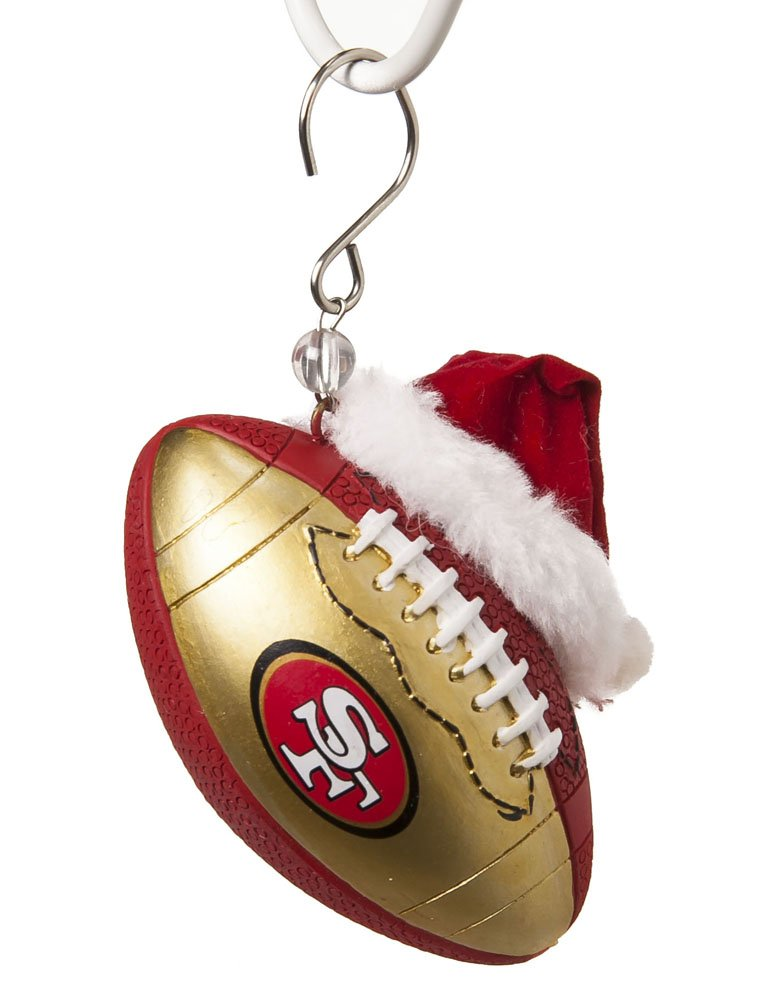 Team Sports America NFL San Francisco 49ers Football Christmas Ornament, Small, Multicolored