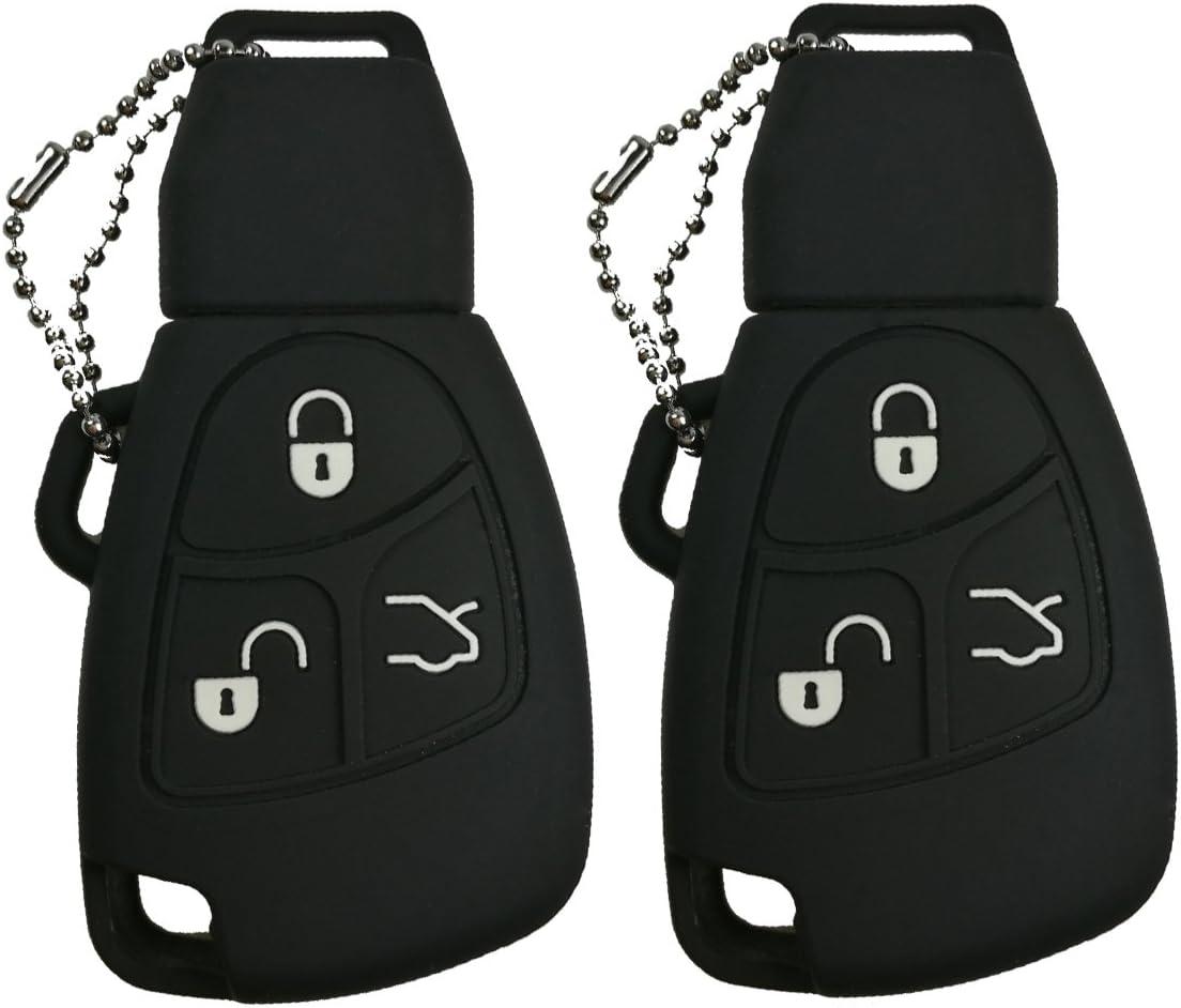 2Pcs Coolbestda Rubber 3 Buttons Smart Key Fob Remote Cover Case Protector Keyless Jacket for Mercedes Benz Class A C E S ML CLK SLK C200 E320 350 CLS Black
