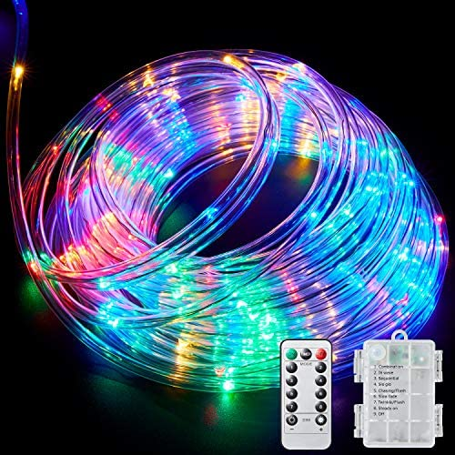 Ollivage LED Rope Lights Outdoor String Lights Battery Powered with Remote Control, 8 Modes Color Changing Waterproof LED Strip Lights Fairy Lights 40Ft for Christmas Party Camping Decoration, 1 Pack