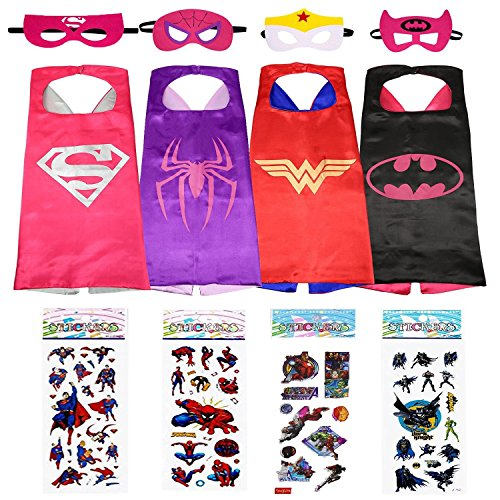 Superhero Dress Up Costumes For Girls - 4 Satin Capes, 4 Felt Masks and 4 Stickers by MosquitoStation