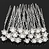 Cdet 20Pcs Bridal Women Hair Clip Diamond Pearl Flower U-Shaped Hair Fork Hair Ornaments Hair Comb Hairpin Girl Headwear Bride Headdress Accessories