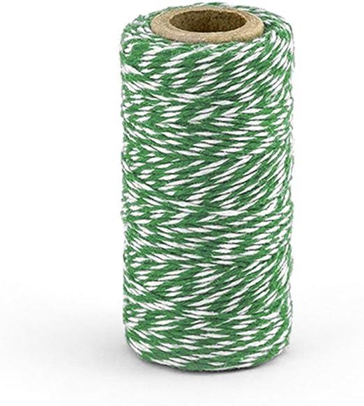 Rollo de 50M Cordón 100% Algodón Blanco a Espiral Verde Ideal para ...