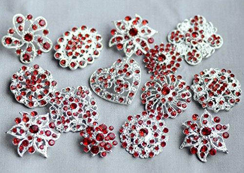10 Ruby Red Rhinestone Button Brooch Assorted Pearl Crystal Embellishment Wedding Bouquet Cake Decoration BT990