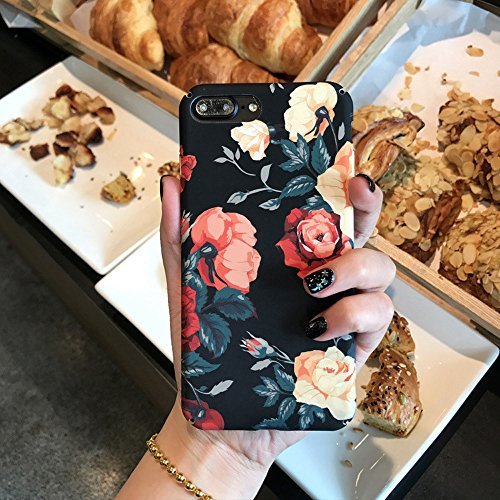 Cute iPhone 7 Plus / iPhone 8 Plus Case for Girls, Opretty Soft Slim Fit Full Protective Shell Phone Case with Summer Style Rose Floral Pattern for Apple iPhone 7 Plus(Rose) (Rose Flower@)