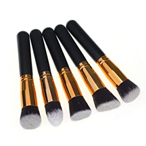 Laimeng, 10PCS Cosmetic Makeup Brush Brushes Set Foundation Powder Eyeshadow (Gold)