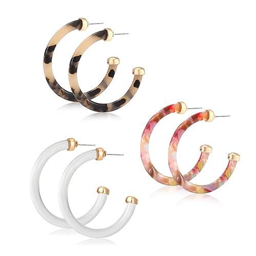 853d22e08638d vogueknock Acrylic Earrings for Women Tortoiseshell Tansparent Acetate  Resin Hoop Earrings Jewelry Sets 3 Pairs