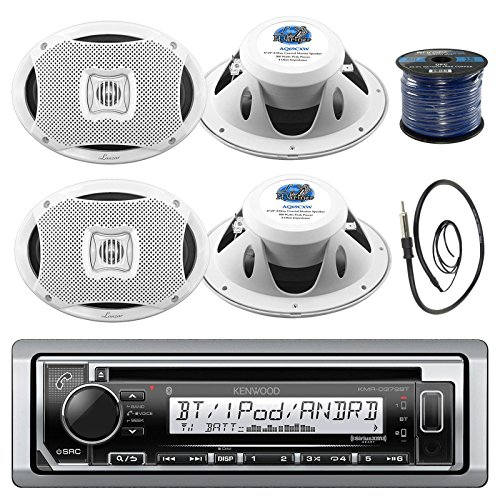 Kenwood KMR-D372BT In-Dash Marine Boat Audio Bluetooth CD Player Receiver Bundle Combo With 4x 500 Watts 6X9-Inch 2-Way Marine White Coaxial Speakers + Radio Antenna + 16g 50FT Marine Speaker Wire (Kenwood 6x9 Marine Speakers)