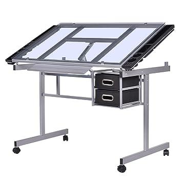Tablero para Dibujo mesa inclinable de Cristal con Cajón Almacenamiento 4 ruedas: Amazon.es: Hogar