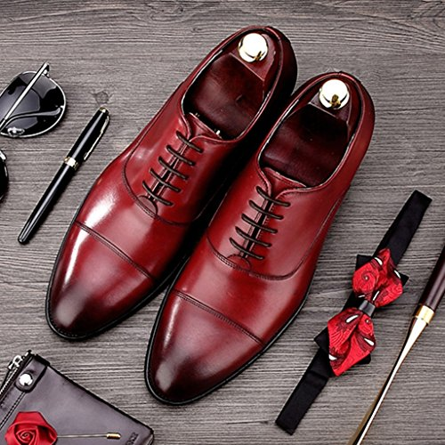 Zapatos Clásicos de Piel para Hombre Zapatos de cuero de estilo europeo para hombres Ropa formal de costura a mano de negocios Estilo británico acentuado ( Color : Color cafe , Tamaño : EU39/UK6 ) Vino Rojo