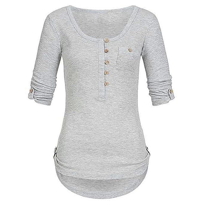 echt kaufen Geschäft neues Design Damen Oberteile Elegante Trendigen Langarm Knopf Fashion ...
