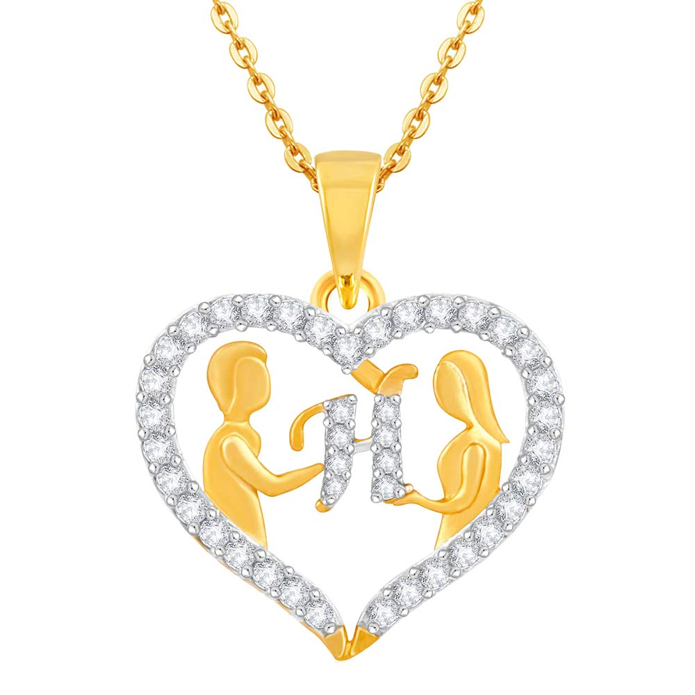 0.25Ct Round Simulated Diamond Couple HeartHLetter Pendant With 18 Chain 14k Yellow Gold Plated 925