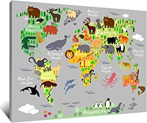 Artsbay Large Animal World Map Canvas Wall Art Animal Educational Global Map Painting Picture Nursery Kids Children Room Decor Framed Giclee Print