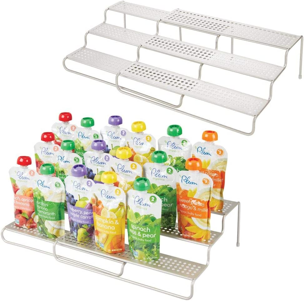 mDesign Expandable Kitchen Cabinet Metal Wire Kid/Baby Food Storage Shelf Organizer Rack Holder - for Pouches, Jars, Bottles, Formula, Juice Boxes - 3 Level Storage, Up to 25