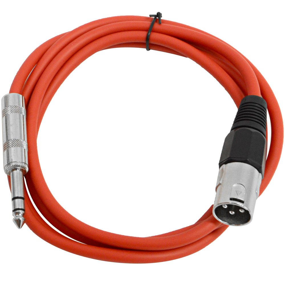 Seismic Audio-SATRXL-M6-Red 6-Feet XLR Male to 1/4-Inch TRS Patch Cable SATRXL-M6Red