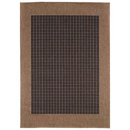 Couristan 1005/2000 Recife Checkered Field Black/Cocoa Runner Rug, 2-Feet 3-Inch by 11-Feet 9-Inch