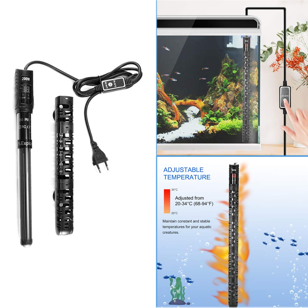 Term/óstato de Tanque de Pescado Calentador de Agua para Acuario Calentador Antiexplosi/ón Sumergible para Pecera-500W SUNJULY Calentador de Acuario Sumergible