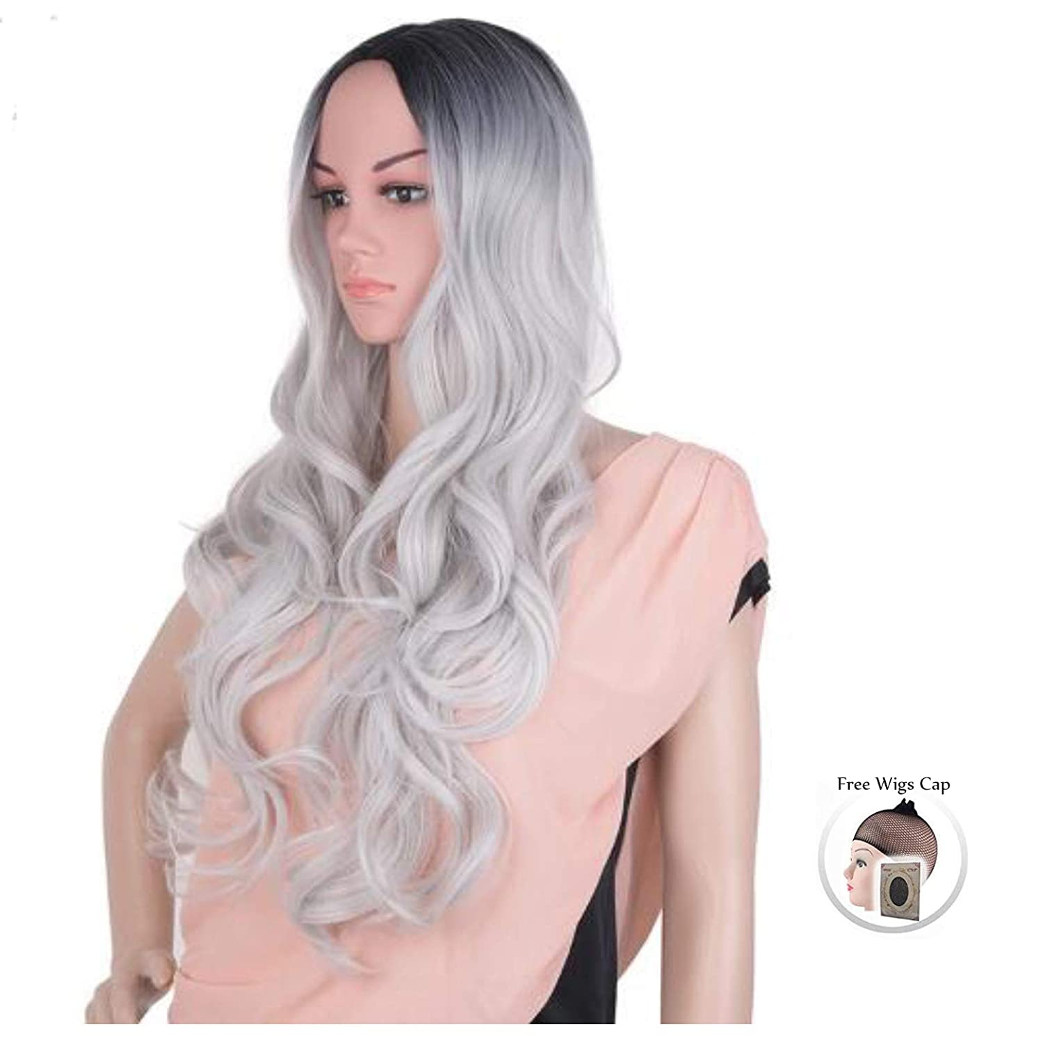 Hair Wigs for Women, Image Gradient Color Hair Extensions,26 Long Full Curly Wavy Glamour black to grey Wig with Wig Cap for the party
