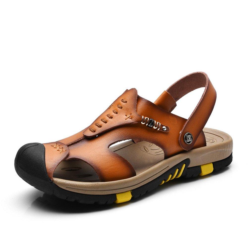 ailishabroy ailshabroy Herren Closed-Toe Klettverschluss Sandalen Mann Leder Outdoor Beach Schuhe  43|Braun