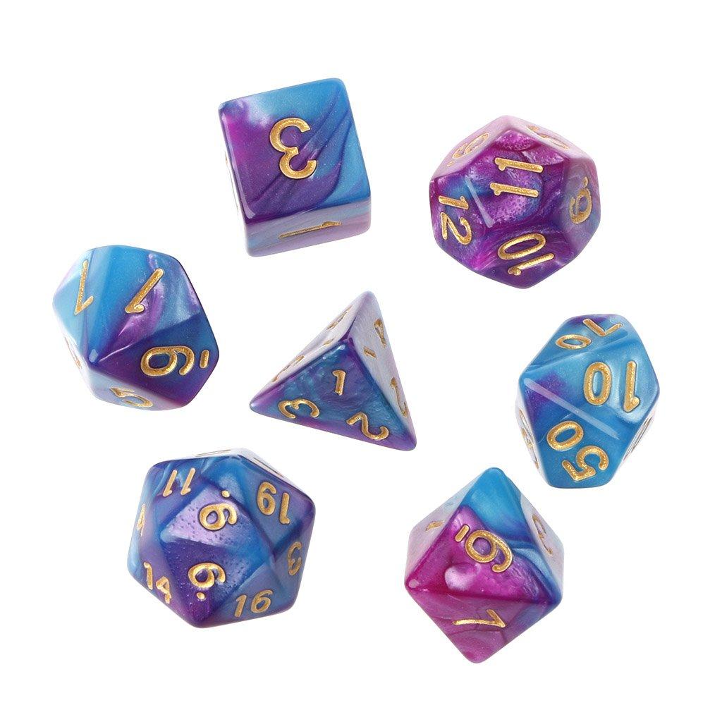 Richi 7pcs /設定アクリルPolyhedral Dice TRPG用ボードゲームDungeons and Dragons d4-d20  パープル B079FNCHLY