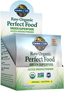 Garden of Life Raw Organic Perfect Food Green Superfood Juiced Greens Powder Single Serving Packets - Original Stevia-Free, 15ct Tray (Packaging May Vary) - Gluten Free Whole Food Dietary Supplement