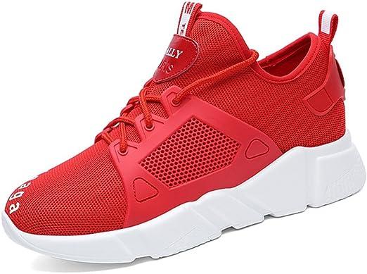 Zapatos de Mujer 2018 Sneakers Casual Knit Ladies Spring, Summer, Fall Zapatillas Casual Athletic Mesh Transpirable Running Shoes Zapatos de Mujer Low-Top Shoes (Color : Rojo, tamaño : 37): Amazon.es: Jardín