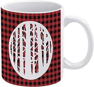 Ceramic Coffee Mug, Buffalo Plaid Ceramic Mug Coffee Cup, Decorative Tea Cup for Office Home 15oz