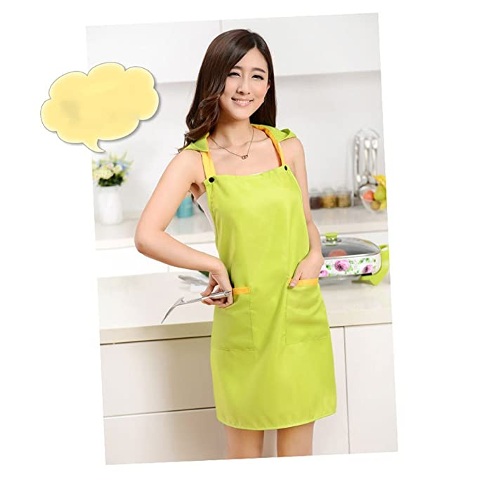 Amazon.com: eDealMax café del restaurante que cocina el delantal de bolsillo vestido babero verde w Cap: Kitchen & Dining