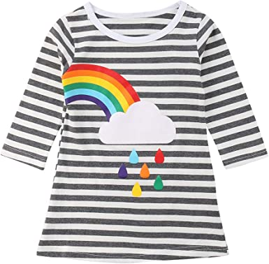 2-11Y Kids Baby Girl Tops Long Sleeve Blouse Rainbow Striped Party T-Shirt Dress