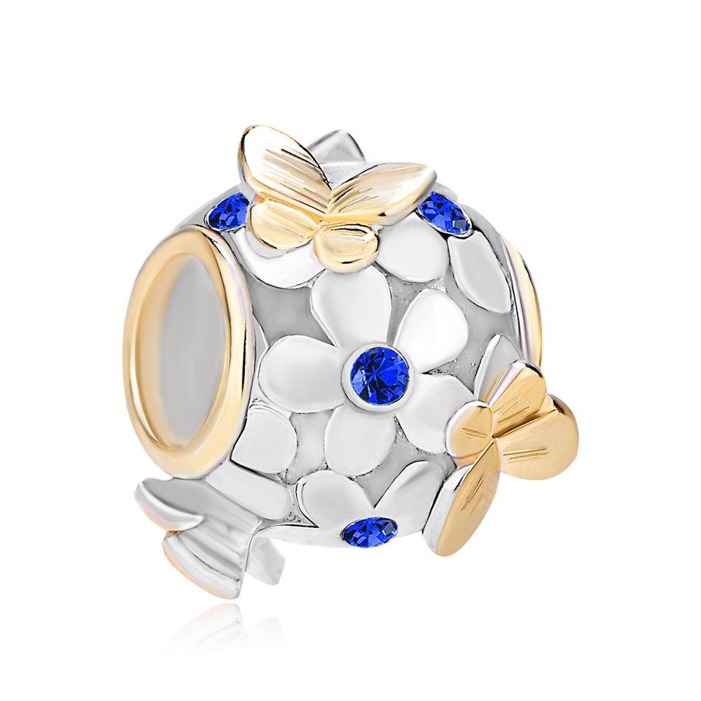 ReisJewelry 925 Sterling Silver Butterfly Flower Charms Bead For Bracelet (Dark Blue)
