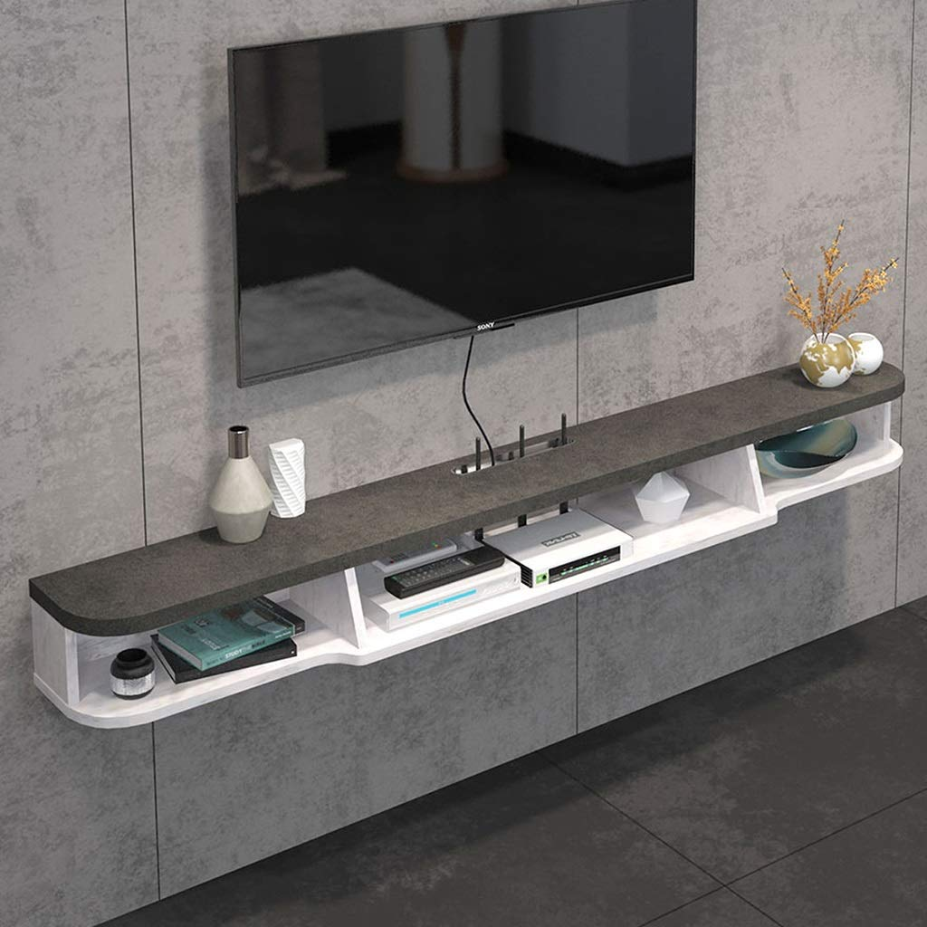 Floating Shelf 2 Tier Modern Wall Mounted TV Shelf TV Stand Floating TV Media Console Wall Cabniet Component TV Shelf Hanging Storage Cabniet for Xbox One/PS4/Cable Box/DVD Players/Game Console by SjYsXm-Floating shelf