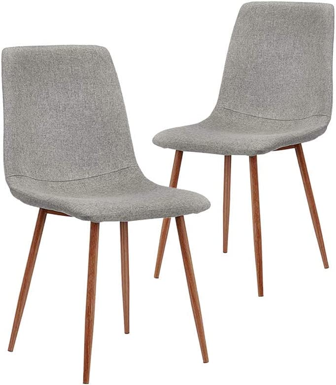 CangLong Dining Chairs Set of 2, Kitchen Chairs with Cushion Seat Back, Grey Back and Metal Legs, Modern Mid Century Living Room Side Chairs