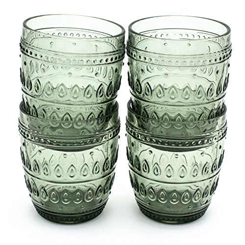 Euro Ceramica Fez Glassware Collection Old Fashion Glasses, 12oz, Set of 4, Gray Review