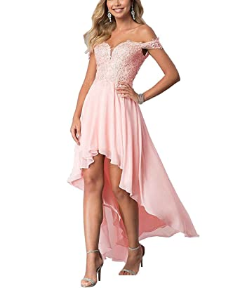 LL Bridal Women Chiffon High Low Formal Gowns Off Shoulder Prom Evening Dresses Baby Pink-
