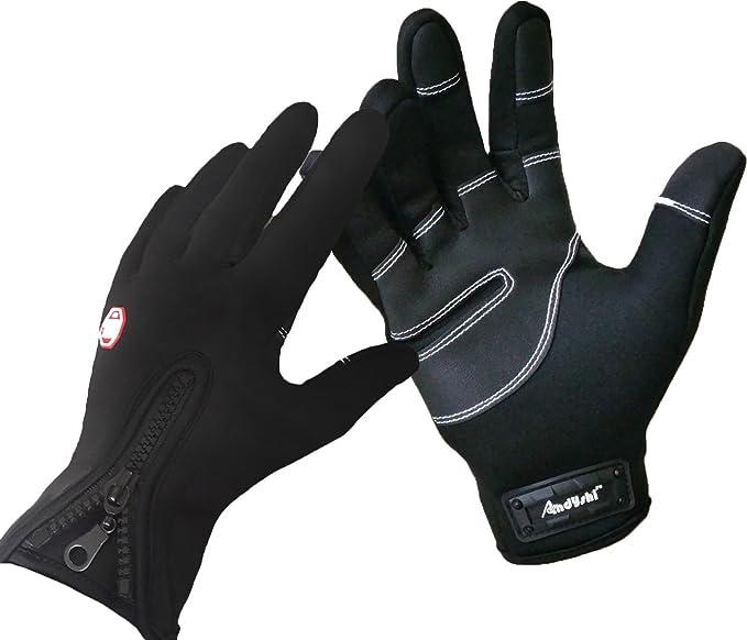 Andyshi Gloves Men Women Winter Outdoor Sports Anti-Slip Windproof Waterproof Touch Screen Cycling Riding Skiing Running Driving Thicken Warm Fleece Lined Elastic Zipper Glove