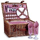 SatisInside Picnic Basket for 2 Wicker Picnic Set