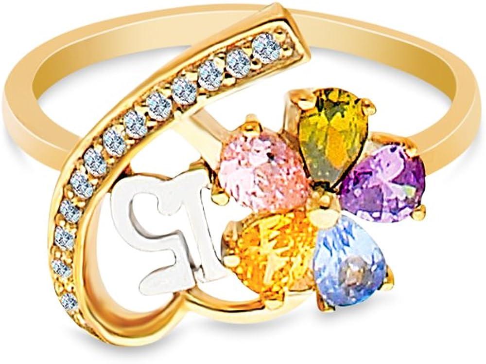 Ioka 14K Solid Yellow Gold 15 Years Birthday CZ Quinceanera Ring