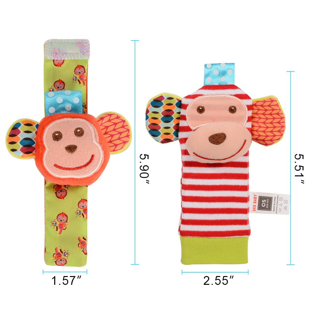 Blue Monkey and Elephant ThinkMax Baby Wrist Rattles 4 Pieces Animal Soft Baby Socks Set Wrist Rattles and Foot Finders Infant Toys