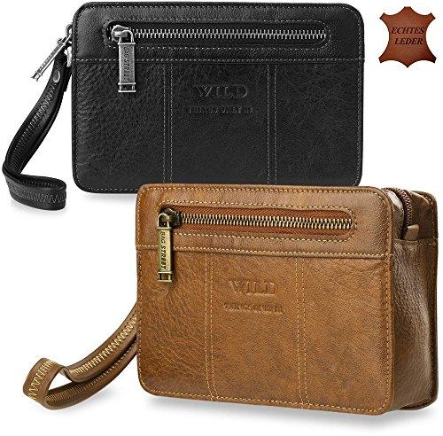 Leder - Herren-Tasche Unterarmtasche Ledertasche Gelenktasche Markentasche Bag Street (schwarz)