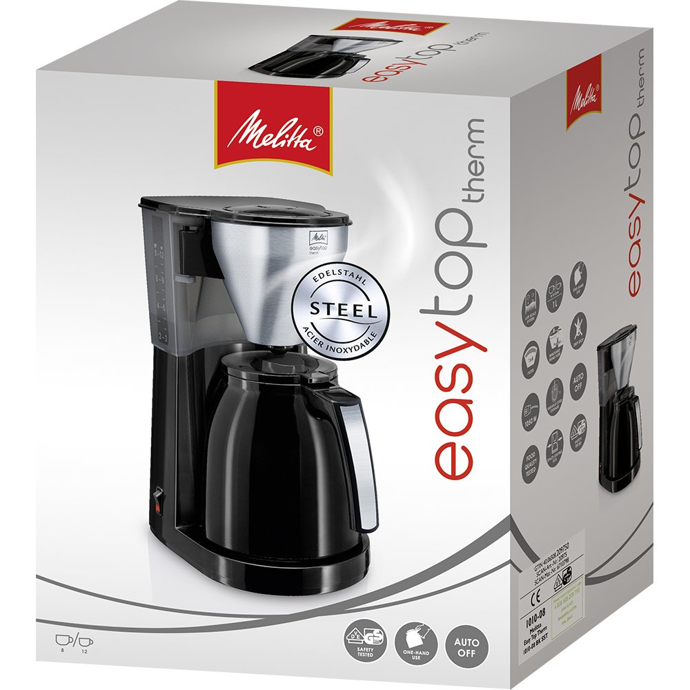 Melitta 1010-11 10cups Drip coffee maker Black,Stainless steel coffee maker coffee makers freestanding, Drip coffee maker, Ground coffee, Coffee, Black, Stainless steel, Thermos