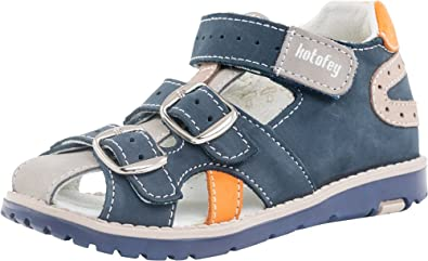 1e7bfe154b Kotofey Boys Grey Sandals 422057-22 Genuine Leather Shoes for Kids - Orthopedic  Shoes with