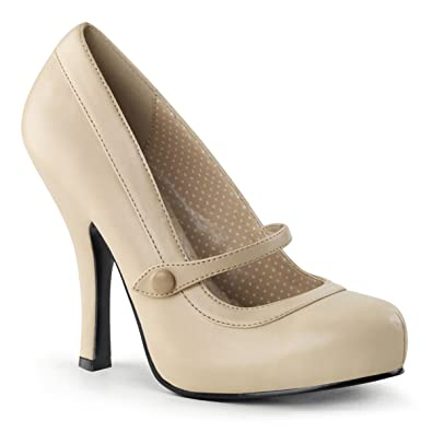 Amazon.com | Womens Matte Nude Mary Jane Shoes with 4.5&39&39 High
