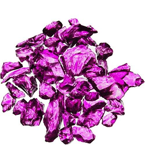 CYS EXCEL Crushed Gravel Bag of Colored Glass Substrate Vase Filler, 1 lb, Violet