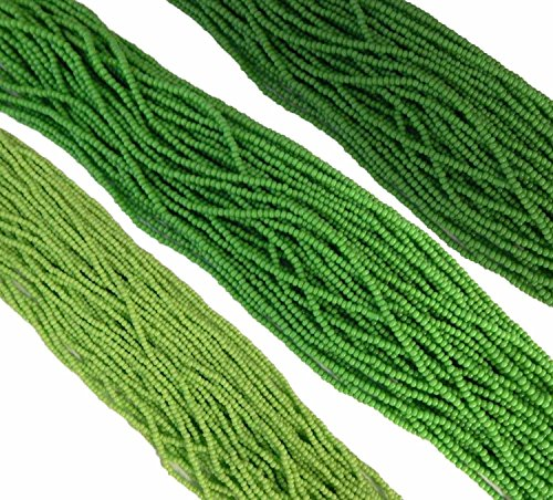 Green Opaque Mix Czech 11/0 Glass Seed Beads 3 Full Hanks Preciosa