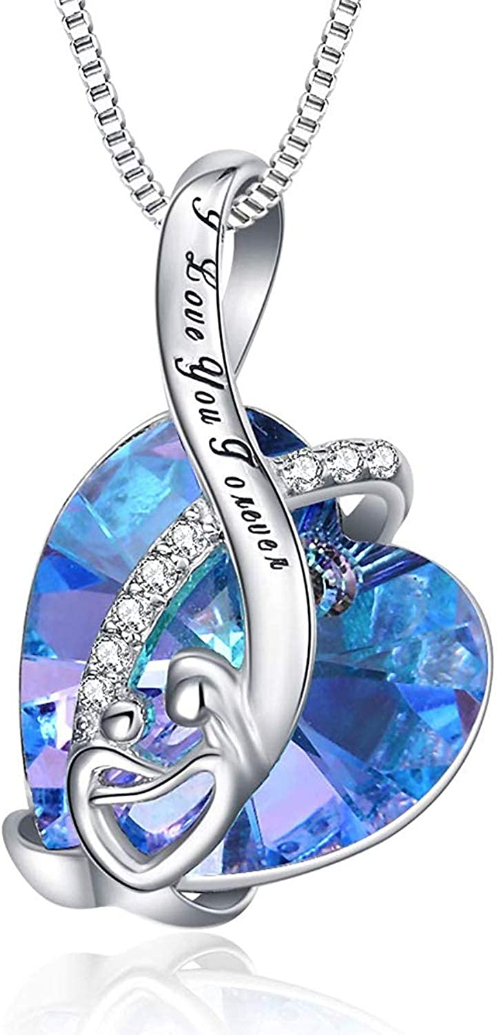 AOBOCO I Love You Mom Series - Sterling Silver Mom Necklace Heart Pendant with Blue Swarovski Crystal - Fine Jewelry Birthday Gifts for Mom Mother Grandma Mother-to-be Mother-in-law Stepmom