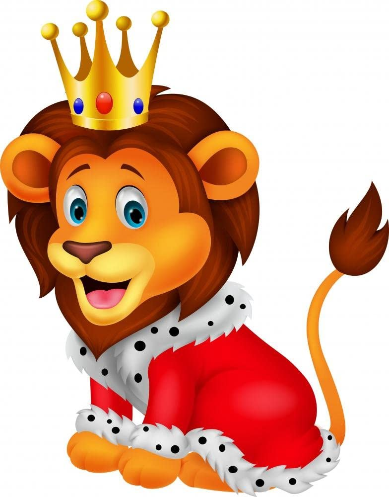 Wallmonkeys WM169369 Cartoon Lion in King Outfit Peel and Stick Wall Decals 30 in H x 24 in W Medium-Large